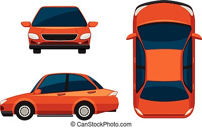 Car - Illustration of different view of a car