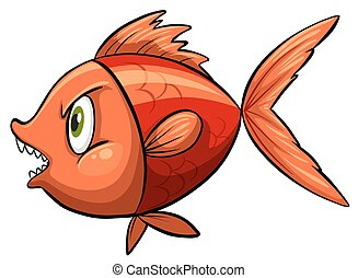 Red fish - One red fish on a white background