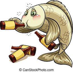 Um, bêbado, peixe,