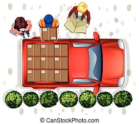 Delivery - Illustration of a delivery man loading the truck
