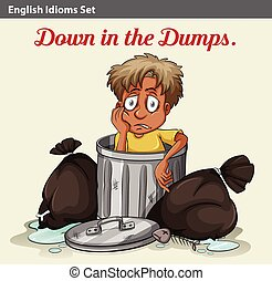 A trashbin with a boy - An idiom showing a trashbin with a...