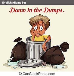 A trashbin with a boy - An idiom showing a trashbin with a...