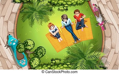 People and park - Illustration of people picnicing in a park