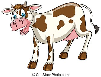A cow on a white background