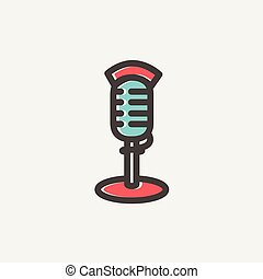 On air microphone thin line icon - On air microphone icon...