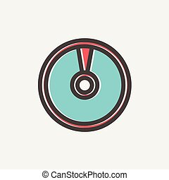 Cd or DVD thin line icon