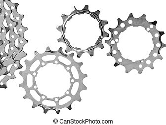 Gear transmission - MTB chainrings on white background