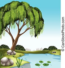 Scenery - Poster of a tree at the bank of a river