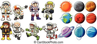 Astronauts and planets - Group of astronauts and the planets...