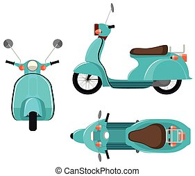 Vehicle - Flashcard of scooter from three side view