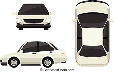 Car - Illustration of a white car in different view