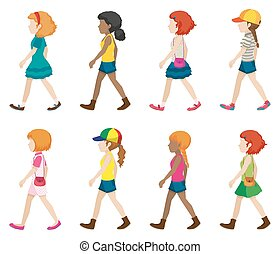Faceless - Set of faceless girls in walking pose