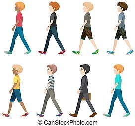 A group of faceless people walking in one direction on a...