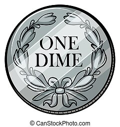 One dime coin on white background