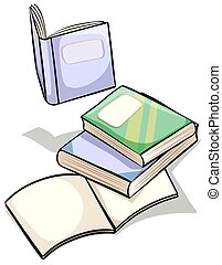 Set of books on a white background
