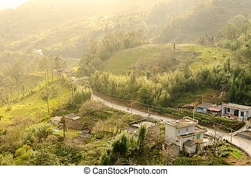 Sapa valley city in the mist in the morning, Vietnam