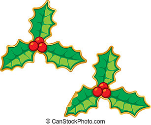 Christmas holly decoration sticker vector