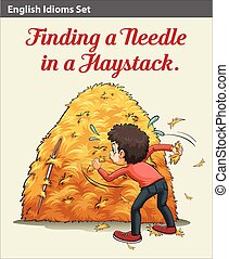 A boy finding a needle in the haystack