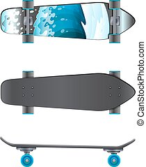 A top and side view of a skating board on a white background