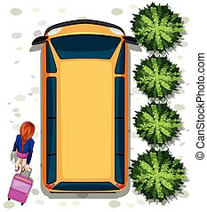 Woman and van - Illustration of a woman getting into a van