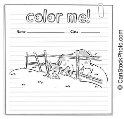 Coloring worksheet with a cow