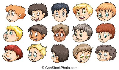 Heads of young boys with different facial expressions on a...