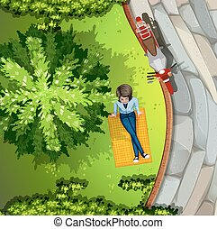 Picnic - Illustration of a woman sitting in the park