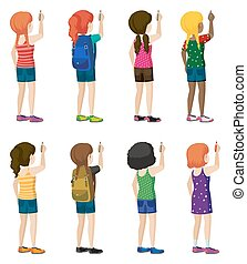 Faceless kids with fashionable attires on a white background