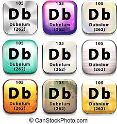 A periodic table showing Dubnium on a white background