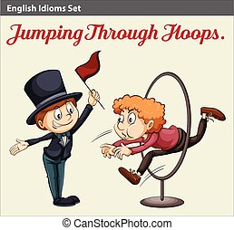 A man jumping through the hoops - An English idiom about a...