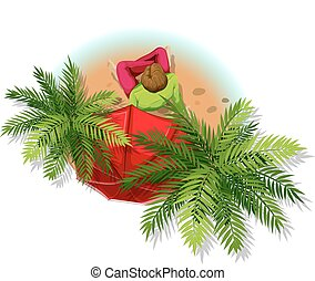Man and trees - Illustration of a man sitting under the palm...