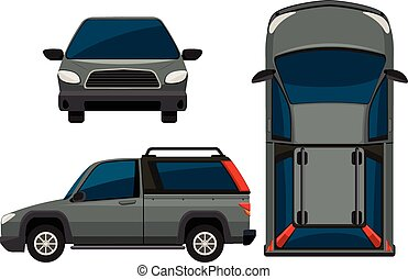 Car - Illustration of a pickup truck in different view