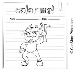 Coloring worksheet with a boy holding a hammer - Coloring...