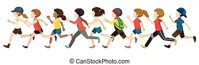 Faceless - Flashcard of faceless kids in running pose