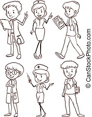 A group of nurses and doctors - A plain drawing of a group...
