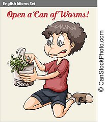 A boy opening a can of worms