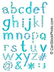 Alphabets - Set of alphabets and symbols in blue pattern