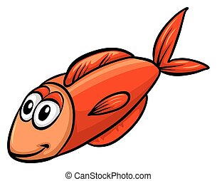 One red fish on a white background