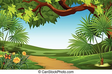 A beautiful landscape with green plants