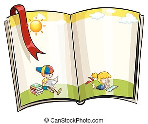 Open book - An open book with children reading theme design