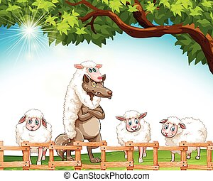 Group of sheeps with a wolf