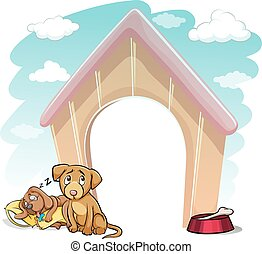 Puppies outside the doghouse - Puppies outside the wooden...