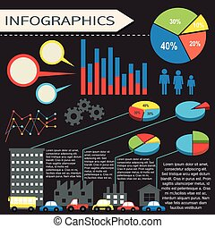 An infographics with humans and vehicles on a black...