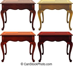 Four wooden tables on a white background