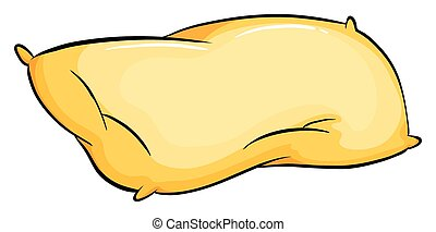 Pillow - Yellow pillow on white background