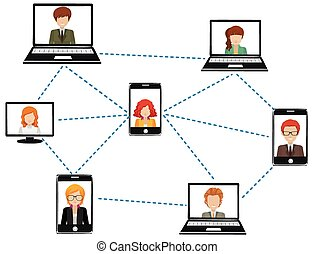 A network of people connected by technology