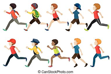 A group of kids running on a white background