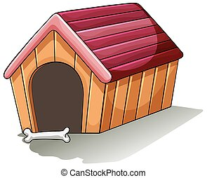 A wooden doghouse on a white background