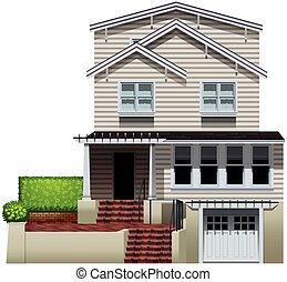 A multi-story house on a white background
