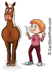 Young boy and a horse - Young boy and a scared horse on a...